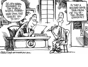 http://standardizedtests.procon.org/view.resource.php?resourceID=4346 Denver Post cartoon satirizing the effect of standardized tests on public education.